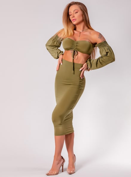 CONJUNTO CHOCOLATE DOCE JULIANA VERDE MILITAR